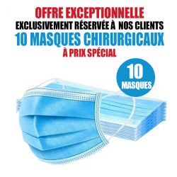 10 MASQUES CHIRURGICAUX TAILLE ENFANT